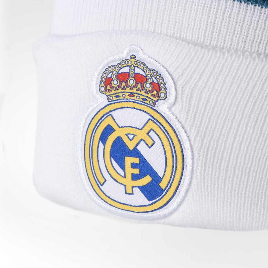 e91e6832c3482 Gorro adidas Real Madrid 3S 2017-2018 White-Vivid teal - Loja de futebol  Fútbol Emotion