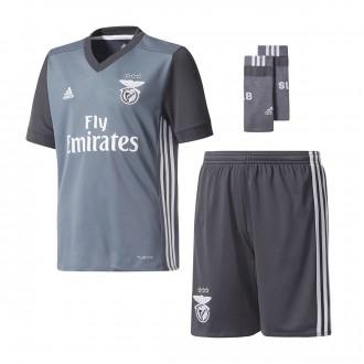 Conjunto  adidas SL Benfica Segunda Equipación 2017-2018 Niño Onix-Dark grey