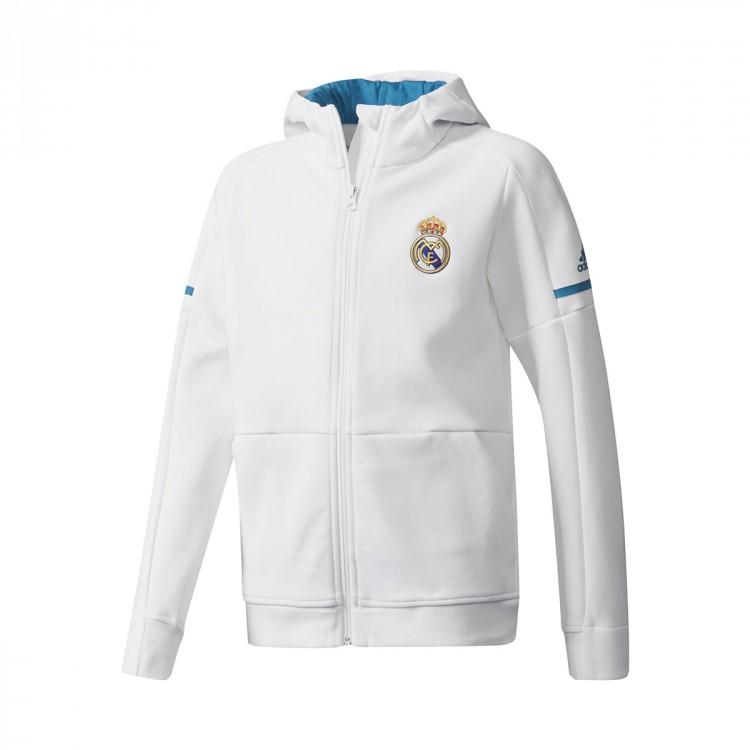 Chamarra adidas Real Madrid Squad 2017-2018 Niño White - Leaked soccer 53ffbd99e75a6