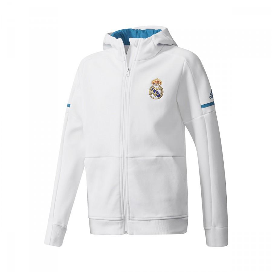 Chamarra adidas Real Madrid Squad 2017-2018 Niño White ... 769703b63bbea