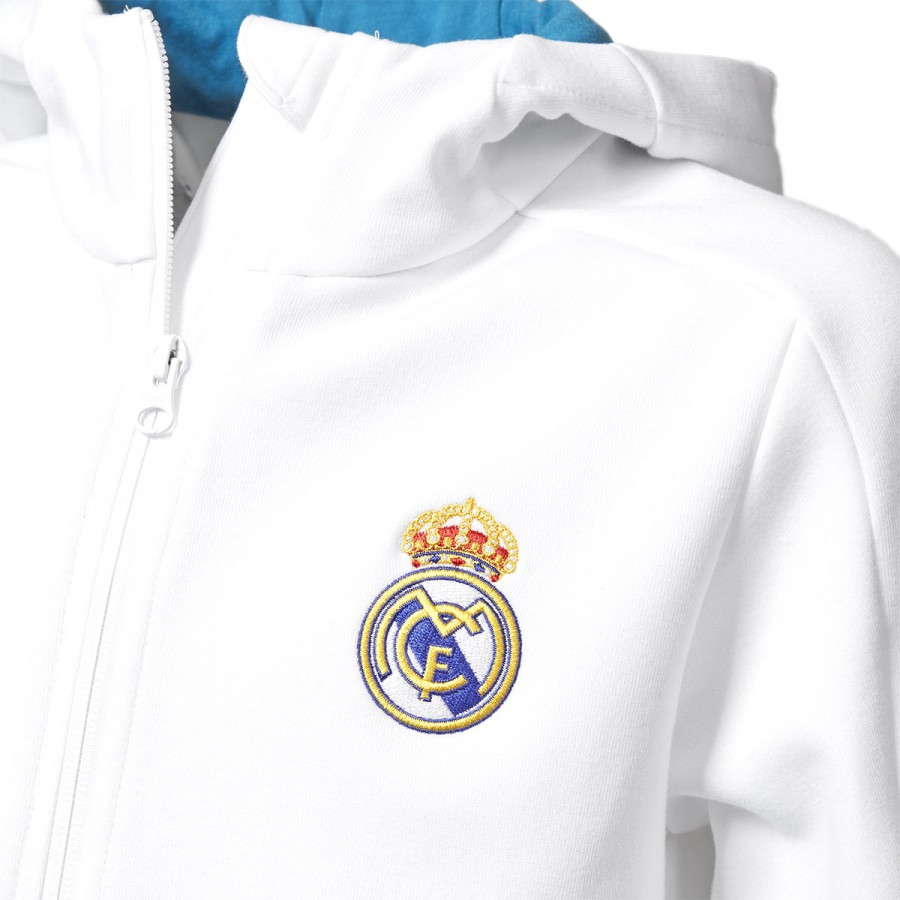 Jacket adidas Real Madrid Squad 2017-2018 Kids White - Leaked soccer 9767f1e500684