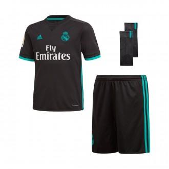 Conjunto  adidas Real Madrid Segunda Equipación 2017-2018 Niño Black-Aero reef