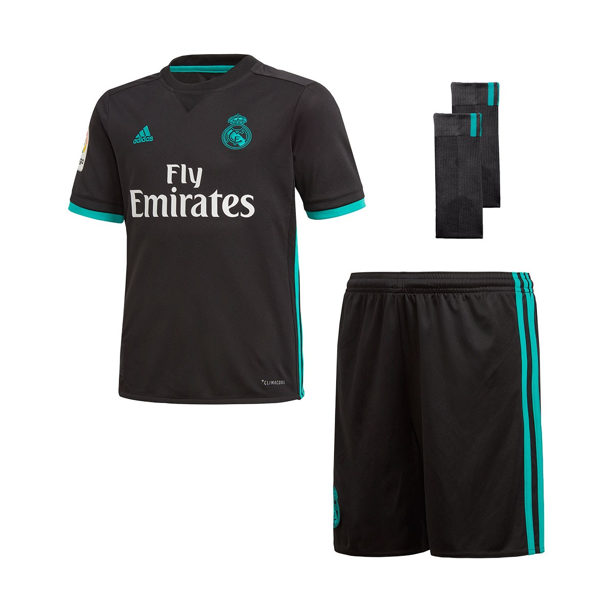 Kit adidas Real Madrid Away 2017-2018 Kids Black-Aero reef - Leaked soccer e63023e22