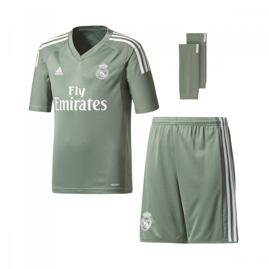 Kit adidas Kids Real Madrid 2017-2018 Home Goalkeeper Trace green ... 13f476b9fd140