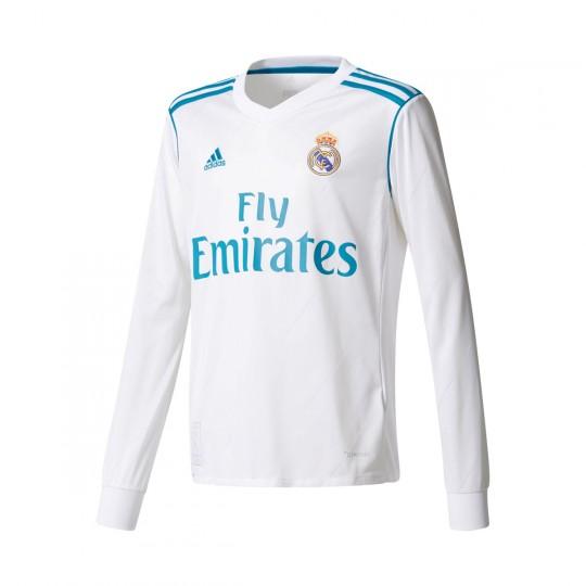 Camiseta  adidas Real Madrid Primera Equipación m/l 2017-2018 Niño White-Vivid teal