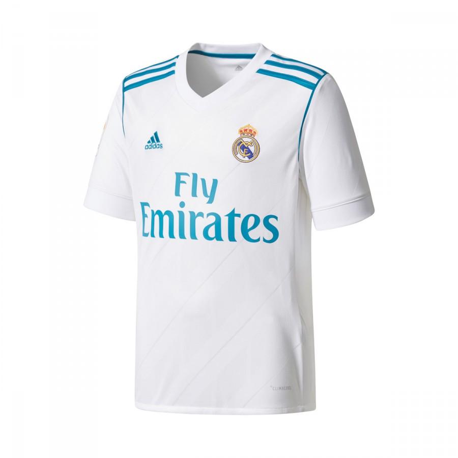 Camiseta adidas Real Madrid Primera Equipación LFP 2017-2018 Niño  White-Vivid teal - Soloporteros es ahora Fútbol Emotion 4b4fa385603e6