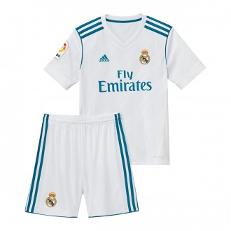 Conjunto  adidas Real Madrid Primera Equipación 2017-2018 Niño White-Vivid teal