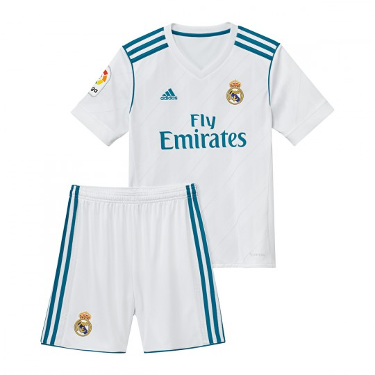 Conjunto  adidas Jr Real Madrid Principal 2017-2018 White-Vivid teal