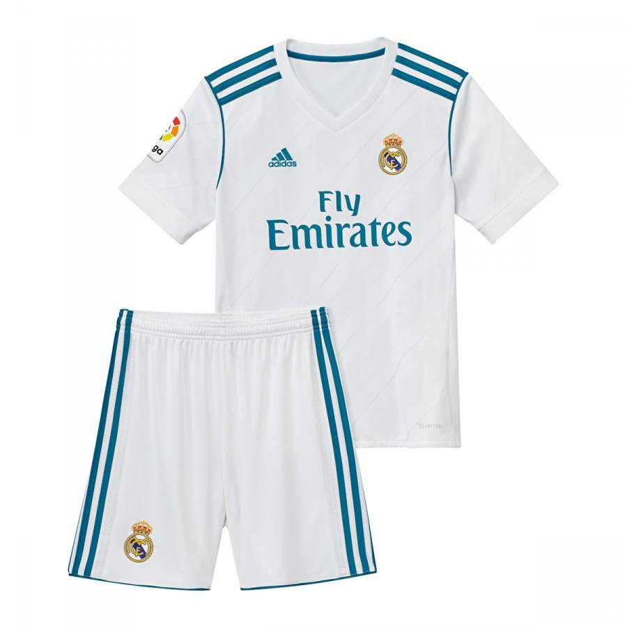 ... Conjunto Real Madrid Primera Equipación 2017-2018 Niño White-Vivid  teal. Vídeo b793ac7ec3625