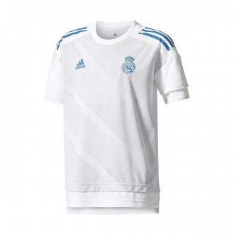 Maillot  adidas Real Madrid Domicile Larga 2017-2018 enfant White-Halo blue