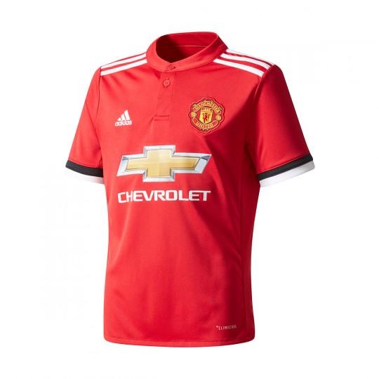 Camiseta  adidas Manchester United FC Primera Equipación 2017-2018 Niño Real red-White-Black