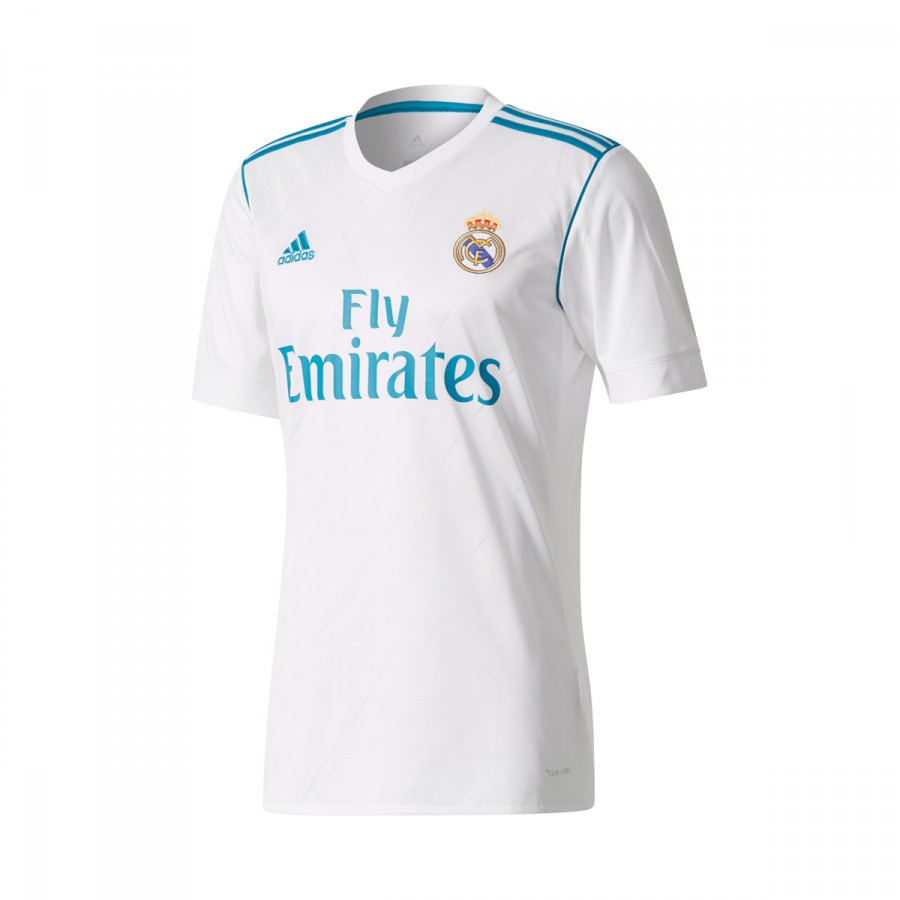 e6300d57701 Jersey adidas Real Madrid Home LFP 2017-2018 White-Vivid teal ...