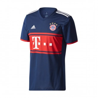 Camisola  adidas FC Bayern Munich Alternativo 2017-2018 Collegiate navy-True red