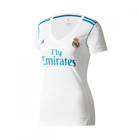 Camiseta  adidas Real Madrid Primera Equipación 2017-2018 Mujer White-Vivid teal