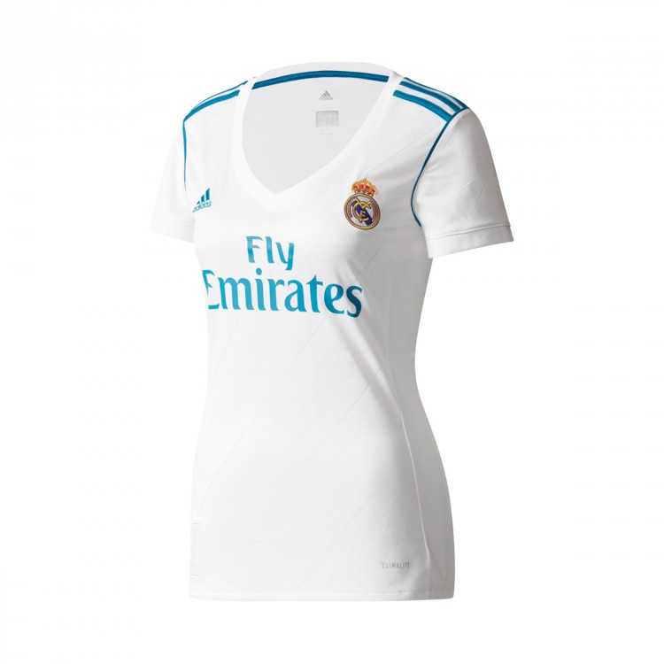 Jersey adidas Woman Real Madrid Home 2017-2018 White-Vivid teal ... a5dcd5992a948