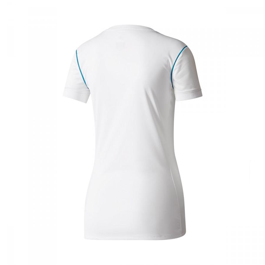 ... Camiseta Real Madrid Primera Equipación 2017-2018 Mujer White-Vivid  teal. Vídeo a18a8e1afed32