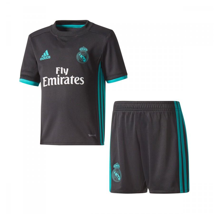 71d915e95dae6 Conjunto adidas Real Madrid Segunda Equipación Niño 2017-2018 Black-Aero  reef - Tienda de fútbol Fútbol Emotion