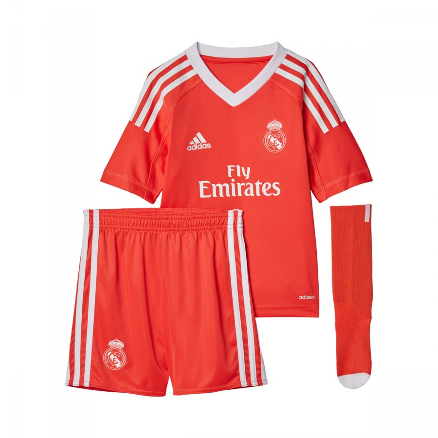 Kit adidas Real Madrid Mini Away 2017-2018 Goalkeeper Kids Bright ... 7a9e068a55278