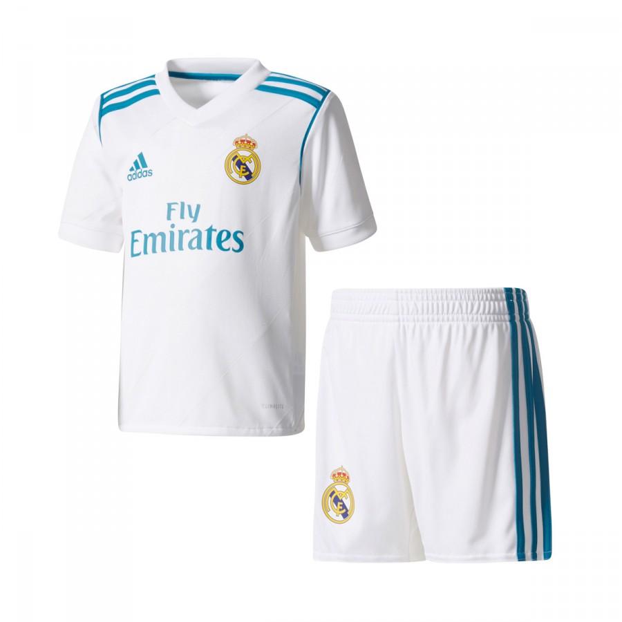 Conjunto adidas Real Madrid Primera Equipación Niño 2017-2018 White ... f54d47e9a7a