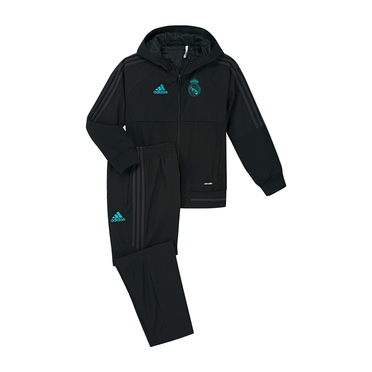 57a47cc73981e Tracksuit adidas Kids Real Madrid 2017-2018 Pre-match Black-Solid ...