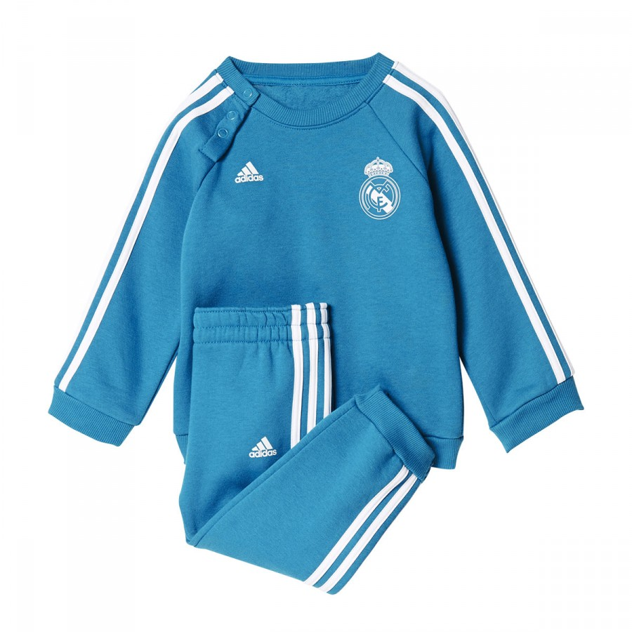 657edcb2b86 Chándal adidas Real Madrid 3S 2017-2018 Niño / Bebé Vivid teal-White -  Tienda de fútbol Fútbol Emotion