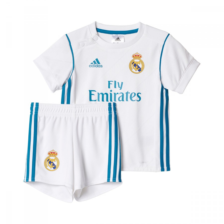 b317b0ea4 Kit adidas Infants Real Madrid Home 2017-2018 White-Vivid teal ...