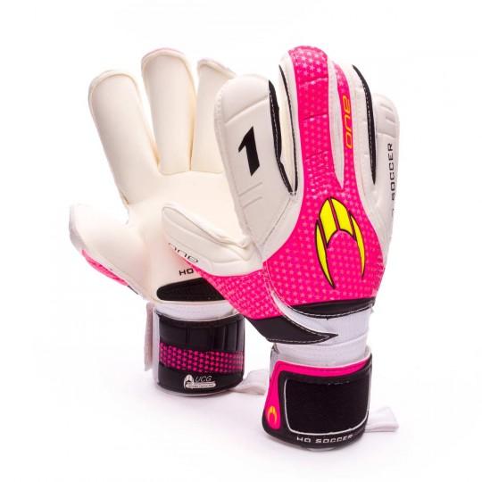 Luvas  HO Soccer One Roll Finger UCG Rosa-Branco