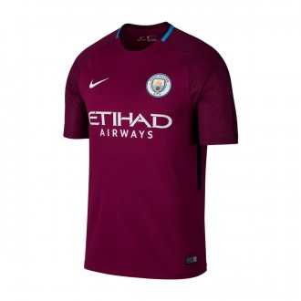 Camiseta  Nike Manchester City FC Stadium SS Segunda Equipación 2017-2018 True berry-White