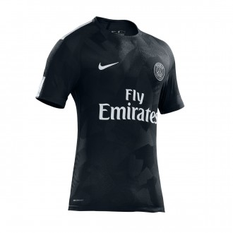 Camisola  Nike Paris Saint-Germain Stadium SS 3ª 2017-2018 Black-Pure platinum
