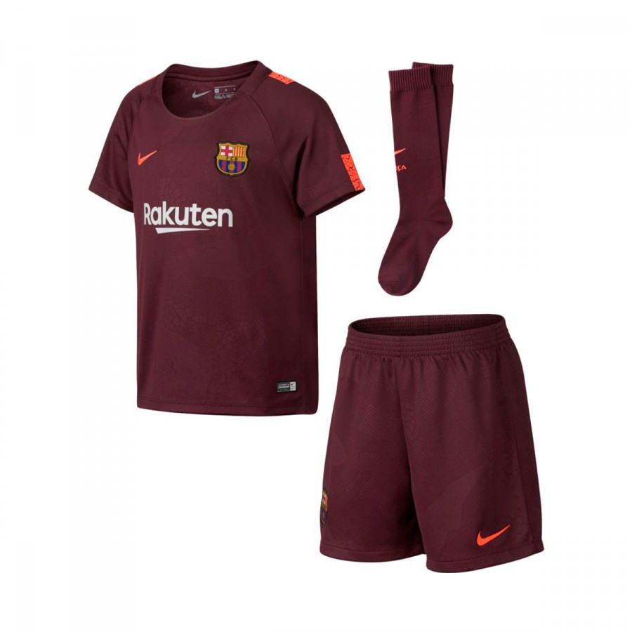 87bb72ce4eb73 Conjunto Nike FC Barcelona Tercera Equipación 2017-2018 Niño Night  maroon-Hyper crimson - Tienda de fútbol Fútbol Emotion