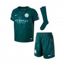 brand new bccf5 59477 Conjunto Manchester City FC Tercera Equipación 2017-2018 Niño Outdoor  green-Field blue
