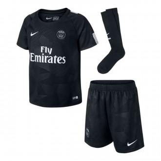 Conjunto  Nike Paris Saint-Germain Tercera Equipación 2017-2018 Niño Black-Pure platinum