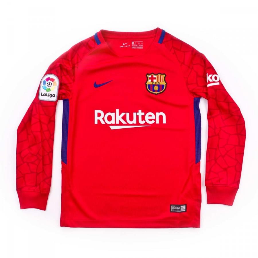 a044772a5691a Nike FC Barcelona Stadium LS 2017-2018 Goalkeeper Home Kit Kids Jersey