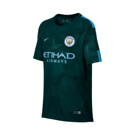 Camisola  Nike Jr Manchester City FC Stadium SS 3ª 2017-2018 Outdoor green-Field blue