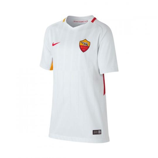 Camiseta  Nike AS Roma Stadium SS Segunda Equipación 2017-2018 Niño White-Off white-Team crimson