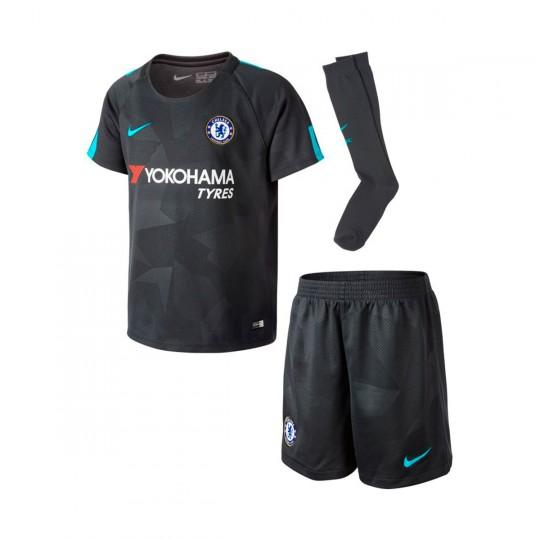 Conjunto  Nike Jr Chelsea FC Kit 3ª 2017-2018 Anthracite-Omega blue