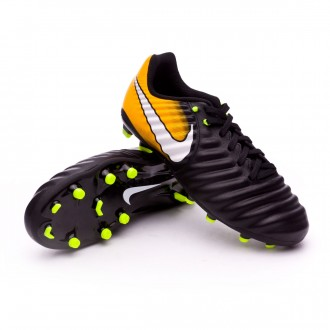 Chuteira  Nike Jr Tiempo Ligera IV FG Black-White-Laser orange-Volt