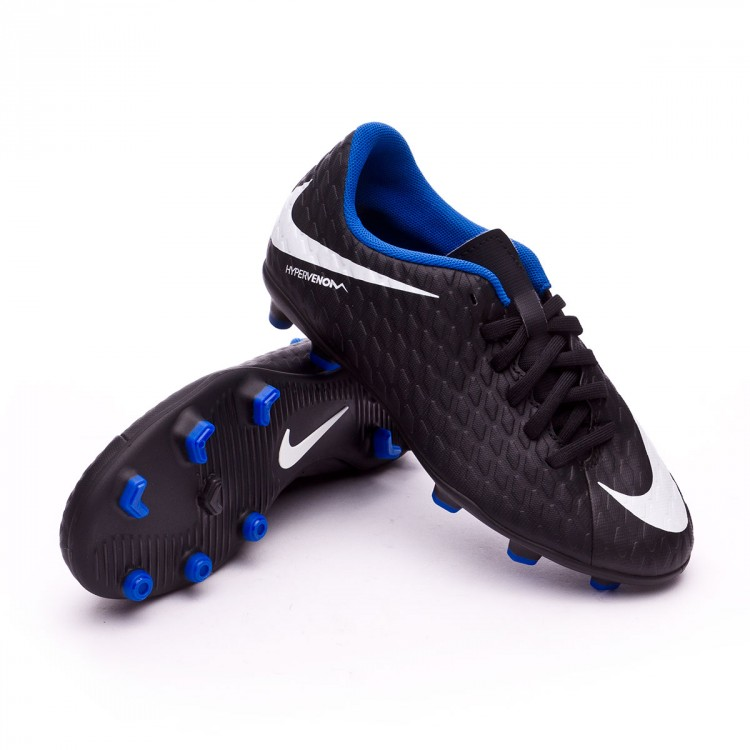 new concept 05c1d b9312 Bota Hypervenom Phade III FG Niño Black-White-Game royal