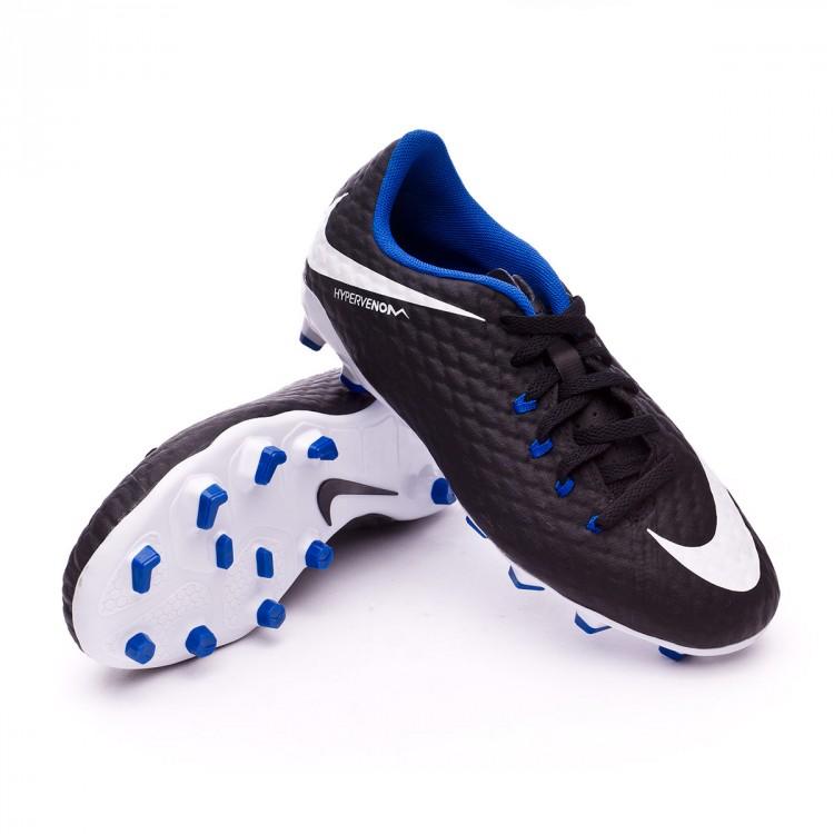 Bota de fútbol Nike Hypervenom Phelon III FG Niño Black-White-Game ... 5ef8cdc541acd