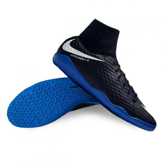 Zapatilla de fútbol sala  Nike HypervenomX Phelon III DF IC Black-White-Game royal