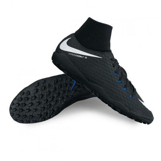 Zapatilla de fútbol sala  Nike HypervenomX Phelon III DF Turf Black-White-Game royal