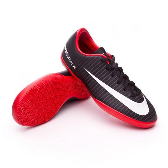 Zapatilla de fútbol sala  Nike jr MercurialX Vapor XI IC Black-White-Dark grey-University red