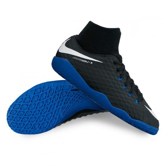 Zapatilla de fútbol sala  Nike jr HypervenomX Phelon III DF IC Black-White-Game royal