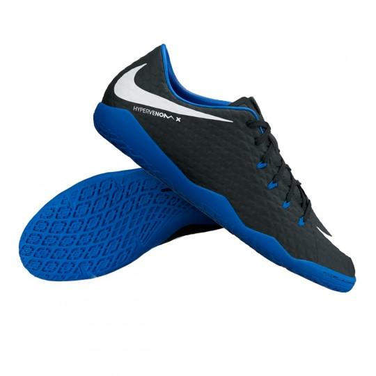 Zapatilla de fútbol sala  Nike HypervenomX Phelon III IC Black-White-Game royal