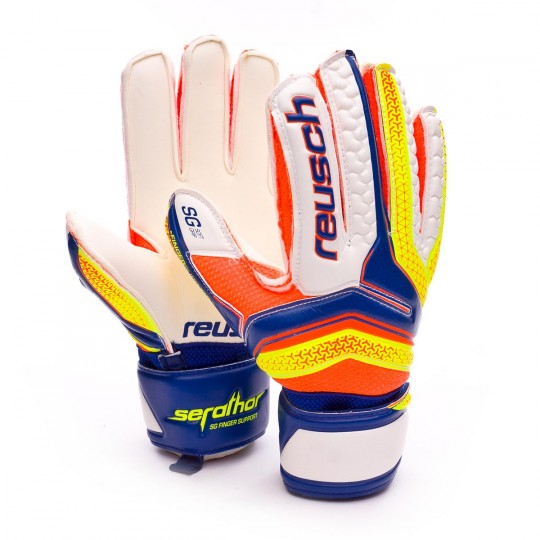 Glove  Reusch Jr Serathor SG Finger Support Dazzling blue-Safety yellow