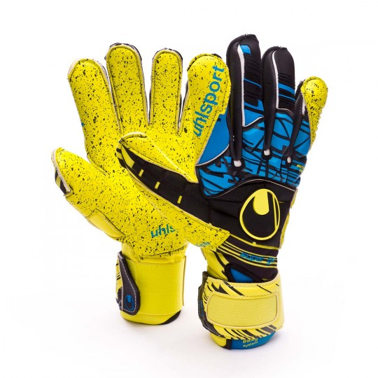 Guante  Uhlsport Eliminator Speed Up Supergrip Lite fluor yellow-Black-Hydro blue