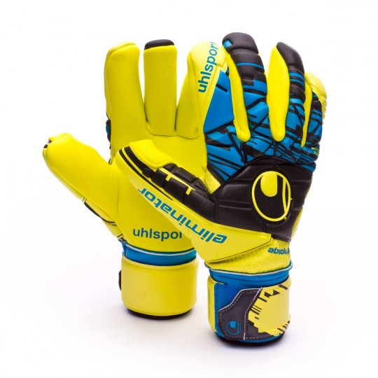 Luvas  Uhlsport Eliminator Speed Up Absolutgrip Fingersurround Lite fluor yellow-Black-Hydro blue