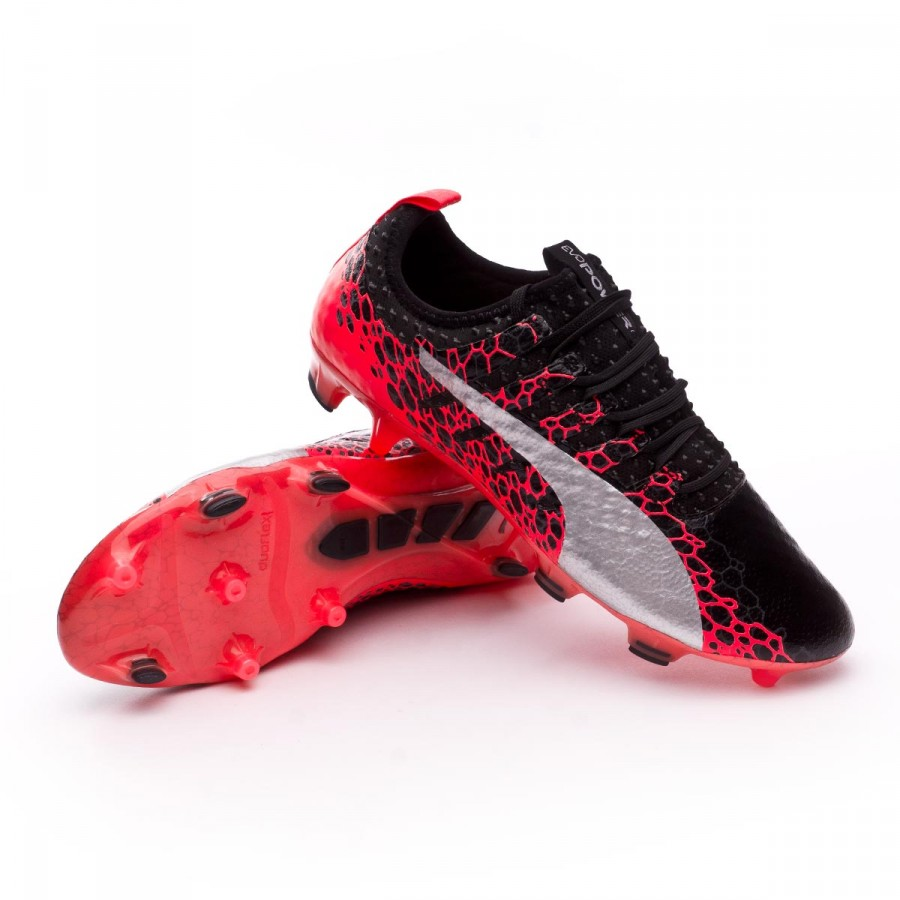 Chuteira Puma evoPOWER Vigor 1 GRAPHIC FG Puma black-Puma white-Fiery coral  - Loja de futebol Fútbol Emotion 7c968cf8db0c4