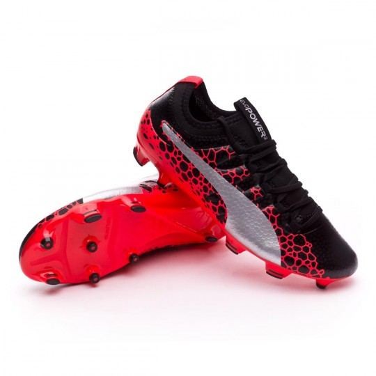Chuteira  Puma evoPOWER Vigor 3 GRAPHIC FG Puma black-Puma white-Fiery coral