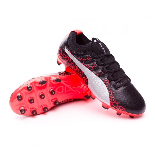 Scarpa  Puma Jr evoPOWER Vigor 3 GRAPHIC AG Puma black-Puma white-Fiery coral